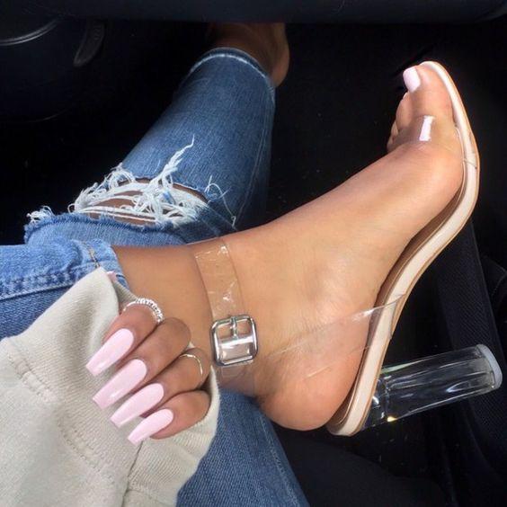 clear glass heels